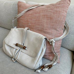Gucci Cream Leather Bamboo Shoulder Bag